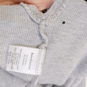 Bordeaux Tops - bordeaux | gray long sleeve split v-neck top sz L